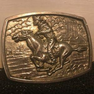 Silver tone belt buckle big, western, cowboy style